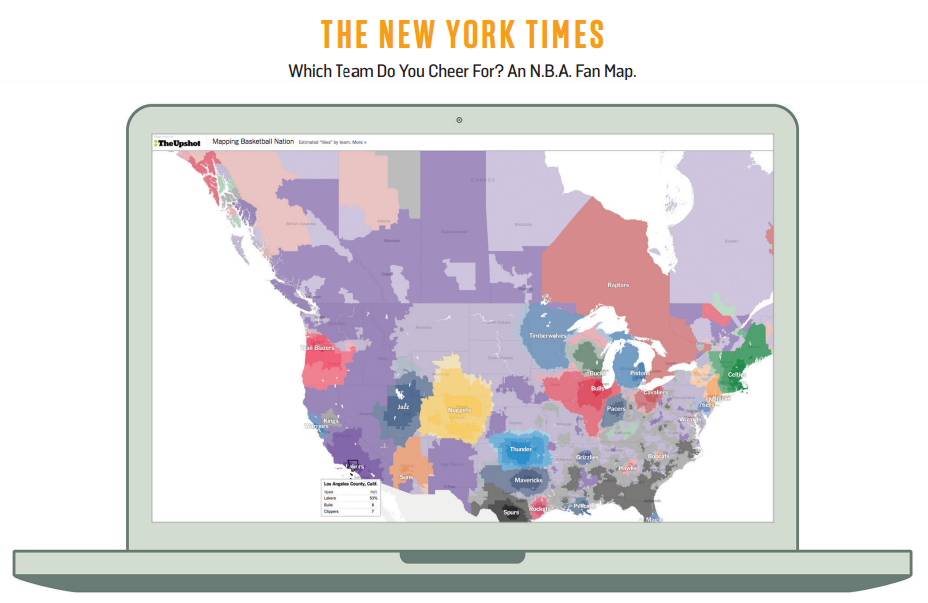 NEW YORK TIMES' NBA FAN MAP